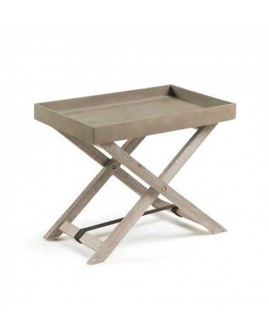 AA1766RF86 STAHL Table folding acacia white brushed cement brown