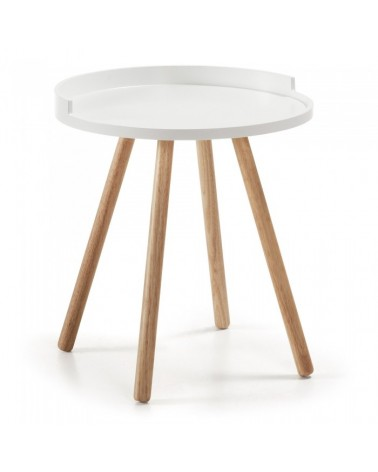 BRUK Side Table 46 Legs Wood Natural Top Wood White C595M05