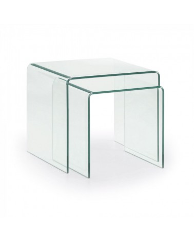 BURANO Set 2 Table Nido 050x045 Glass Clear 506009TRA