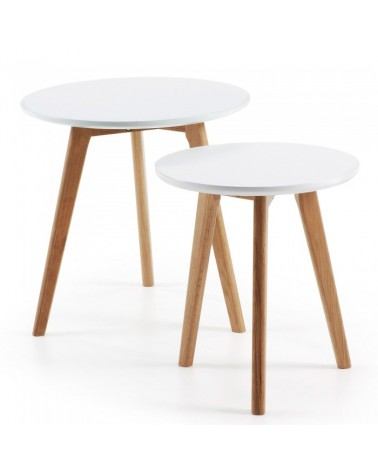 C602M05 BRICK Set 2 side tables ø50 leg wood nat top MDF wh