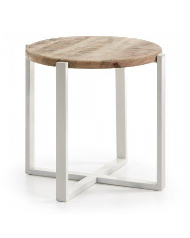 C291M46 IZNEWAM Side table metal frame top wood natural