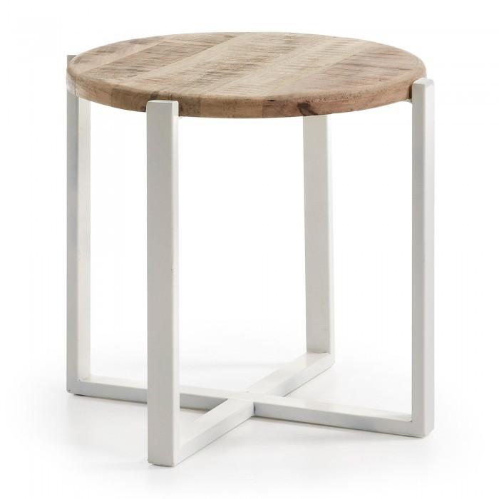 C291M46 IZNEWAM Side table metal frame top wood natural