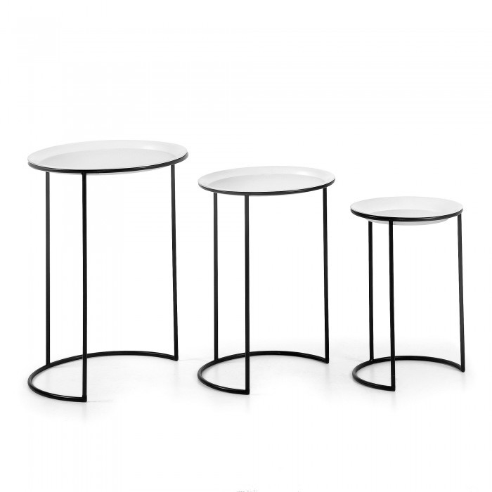 A860R60 ALGIER Set 3 metal Table black white