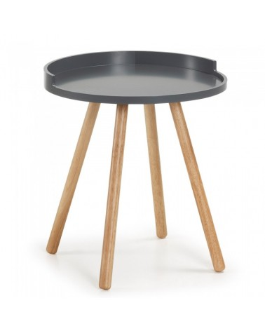C595M03 BRUK Side table ø46 legs wood natural top wood grey