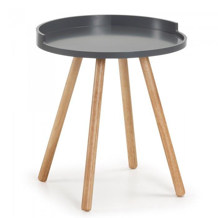 C595M03 BRUK Side table ø46 legs wood natural top wood grey