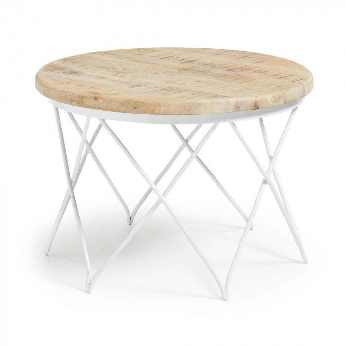 LINS Coffee Table Metal Frame Top Wood Natur C761M46