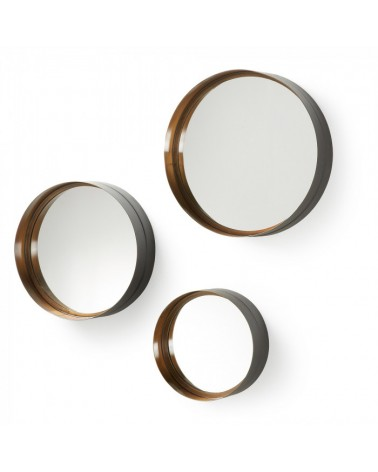 AA0137R83 WILSON SET 3 MIRRORS METAL GOLD