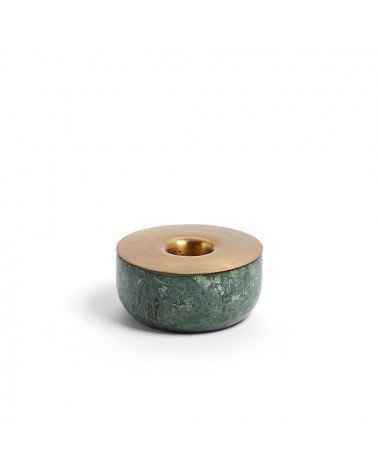 AA3380R53  CHECKS Candleholder marble green metal brass
