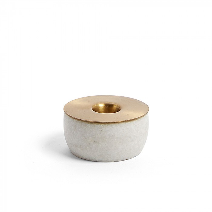 AA3387R53  CHECKS Candleholder marble white metal brass