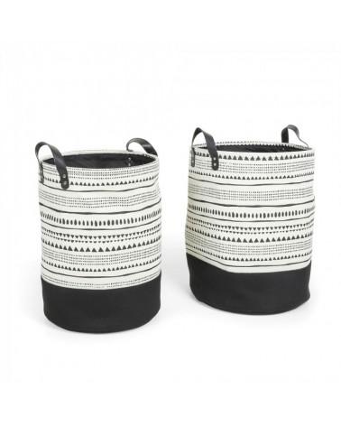 AA2631J60  KAMURA Set 2 baskets fabric white black