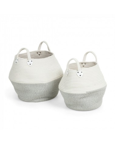 AA2645J03  KATYA Set 2 baskets rope grey
