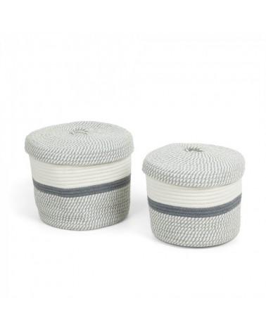 AA2646J03  KATYA Set 2 baskets rope grey