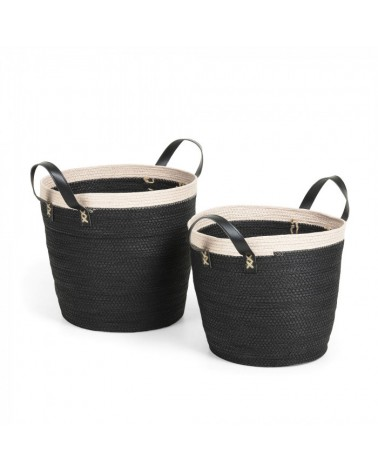 AA2589CP01  KUOMI Set 2 baskets rope black