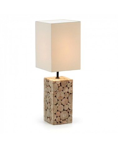 EA337FN39  NAVILS Table lamp tropical wood shade white