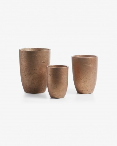 AA1153RF84  Low set of 3 planters copper
