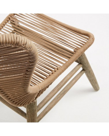 KUBIC armchair beige washed eucalyptus and rope