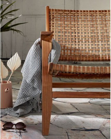 Grignoon armchair in solid acacia wood and woven synthetic rattan