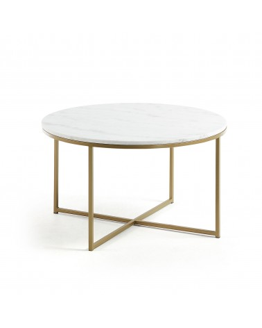 SIDE table sheffield ø 80 cm with marble top and golden metal structure