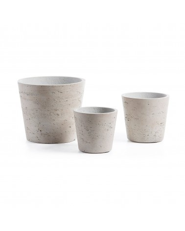 LOW set of 3 planters grey
