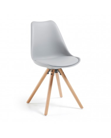LARS(RALF) chair natural wood plastic light grey