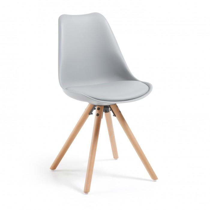 LARS(RALF) chair natural wood plastic light grey