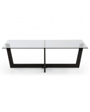 PLUM(PLAM) coffee table epoxy black glass fume grey