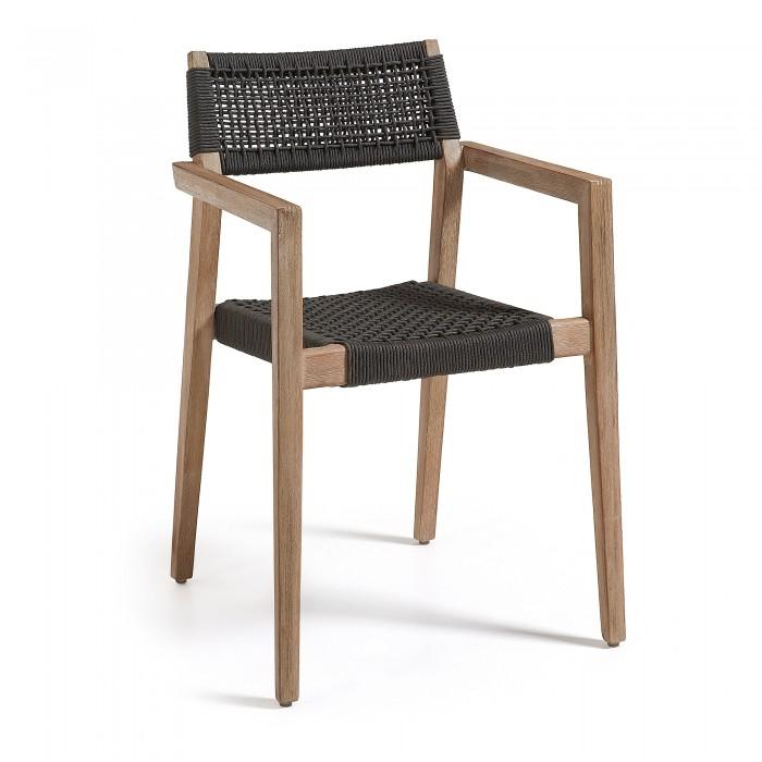 CORVETTE armchair acacia white washed rope dark grey