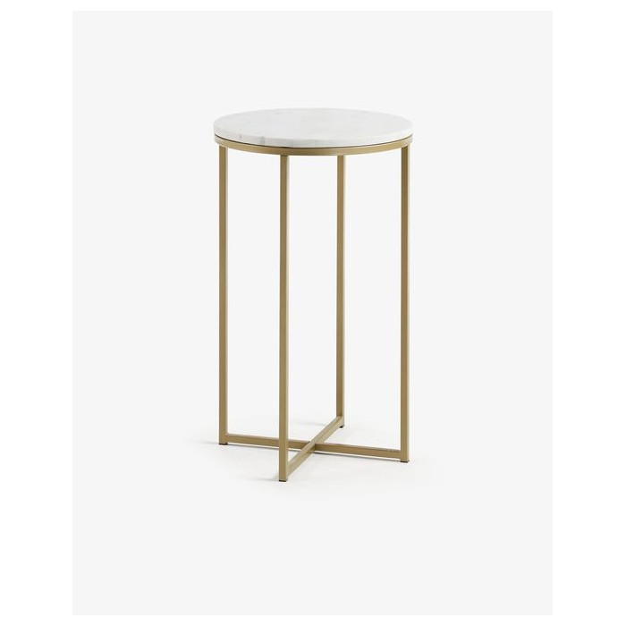 CC1103PR05  Side table Sheffield Ø 43 cm with marble top and golden metal structure
