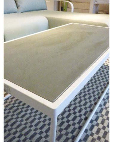 23744 TUSCANY COFFEE TABLE WHITE MATT FRAME  /CONCRETE