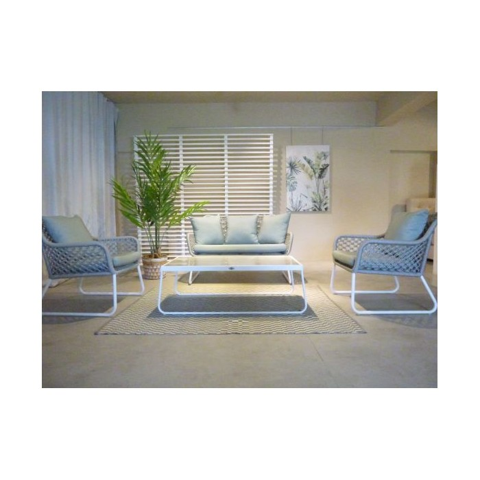 MOMA SET OF SOFA(2 SEATER + 2 SINGLE SEATER + COFFEE TABLE) 220 / SILVER  / WHITE MATT SERPEIGEINTE BEIGE