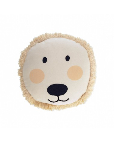 URIANA 100% cotton lion cushion cover in beige Ø 45 cm and fluff inside