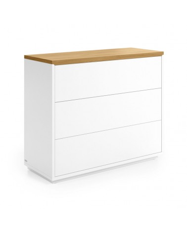 CC2059L05 ABILEN 3-drawer oak veneer and white lacquer chest of drawers 90 x 75 cm