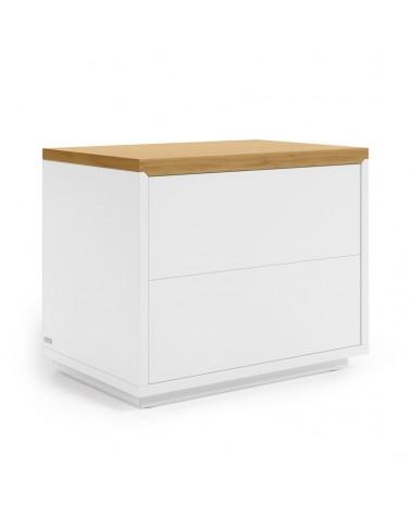AA7773L05 ABILEN oak veneer and white lacquer bedside table 53,4 x 44 cm