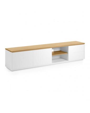 CC2058L05 ABILEN oak veneer and white lacquer TV stand 200 x 44 cm