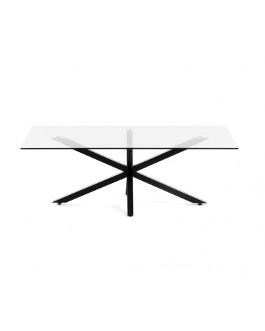 CC1180C07 ARGON coffee table glass black legs 130 x 70 cm