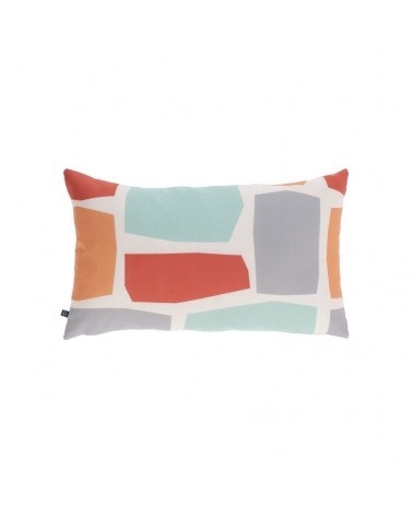 AA8661  multicoloured cushion cover with squares 30 x 50 cm and fluff inside