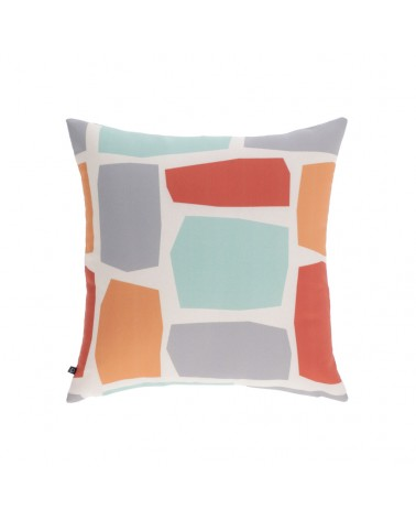 AA8660 Calantina multicoloured cushion cover with squares 45 x 45 cm and fluff inside