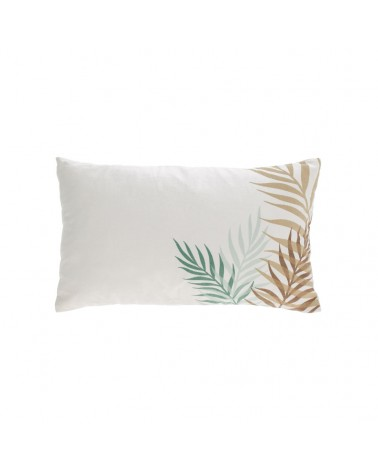 AA8325J35 Amorela 100% cotton cushion cover with green leaves 30 x 50 cm  and Fluff inside