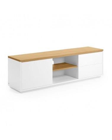CC2982L05 - Abilen oak veneer and white lacquer TV stand 150 x 44 cm