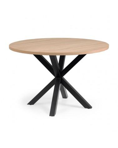 CC6021M46 - Full Argo round Ø 119 cm melamine table with steel legs with black finish
