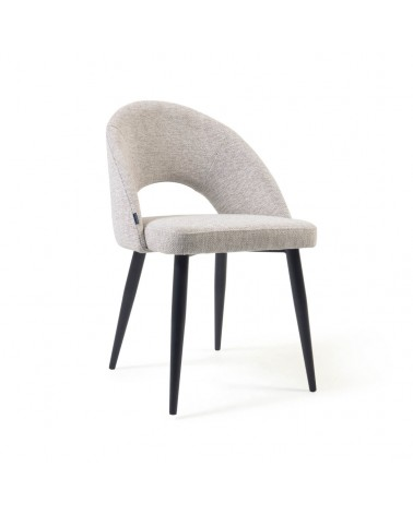 CC2211MN12 - Mael beige chair with steel legs with black finish