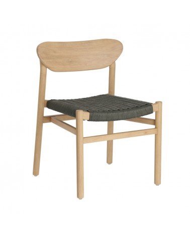 CC2004J19 - Galit chair made from solid eucalyptus wood with natural finish and green cord FSC 100%