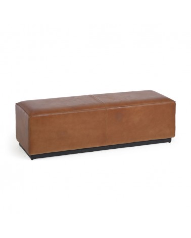 AA8634P10 - Cesia 120 cm brown buffalo hide storage bench with wooden base