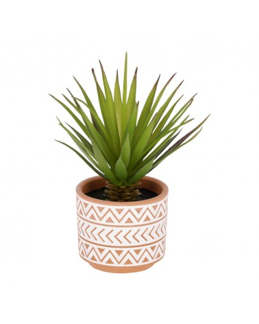 AA6304 - Artificial small Palm in brown and white ceramic pot