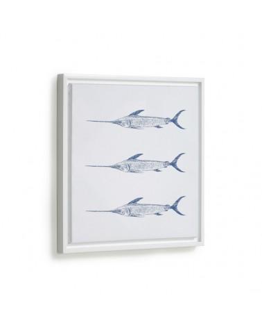 AA8129 - Lavinia picture with 3 blue swordfish 30 x 40 cm