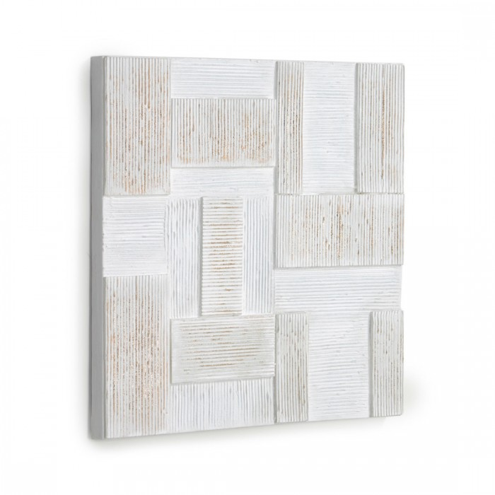 AA8240 - Alvida picture with white and gold rectangles 50 x 50 cm