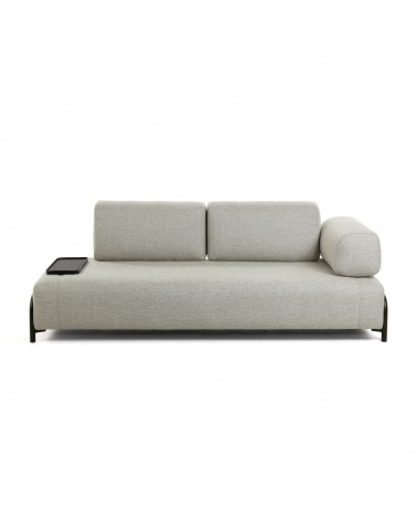 S588BB12 - Beige 3 seats Compo sofa with small tray 232 cm