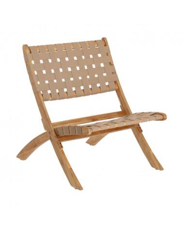 CC2094J12 Chabeli acacia wood folding chair in acacia wood and beige cord FSC 100%