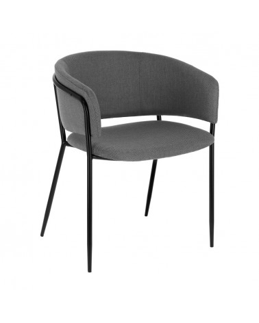 CC0297VD03 Runnie chair in light grey with steel legs with black finish