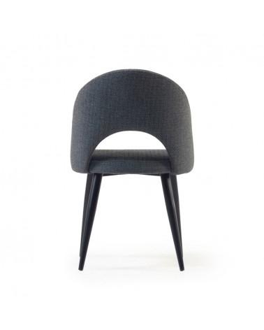 CC2211MN15 Mael dark grey chair with steel legs with black finish